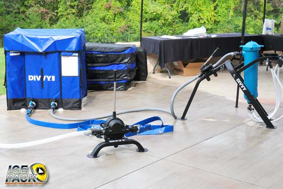 The DIVVY, by Aquamira, will store 250-500 gallons of water and purify 4-5 gallons per minute.